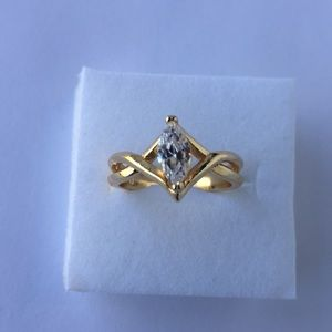 10K Gold filled 1 carat marquise  cubic Zirconia